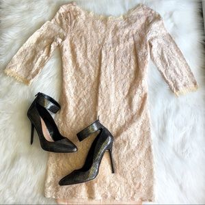 Lush • Gold Champagne Lace Dress